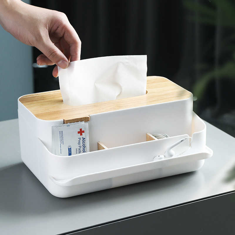 可拆分隔面紙盒 木蓋面紙盒 紙巾盒 衛生紙盒 抽取式面紙盒 桌上收納盒 日式置物盒 木頭面紙盒【RS1089】
