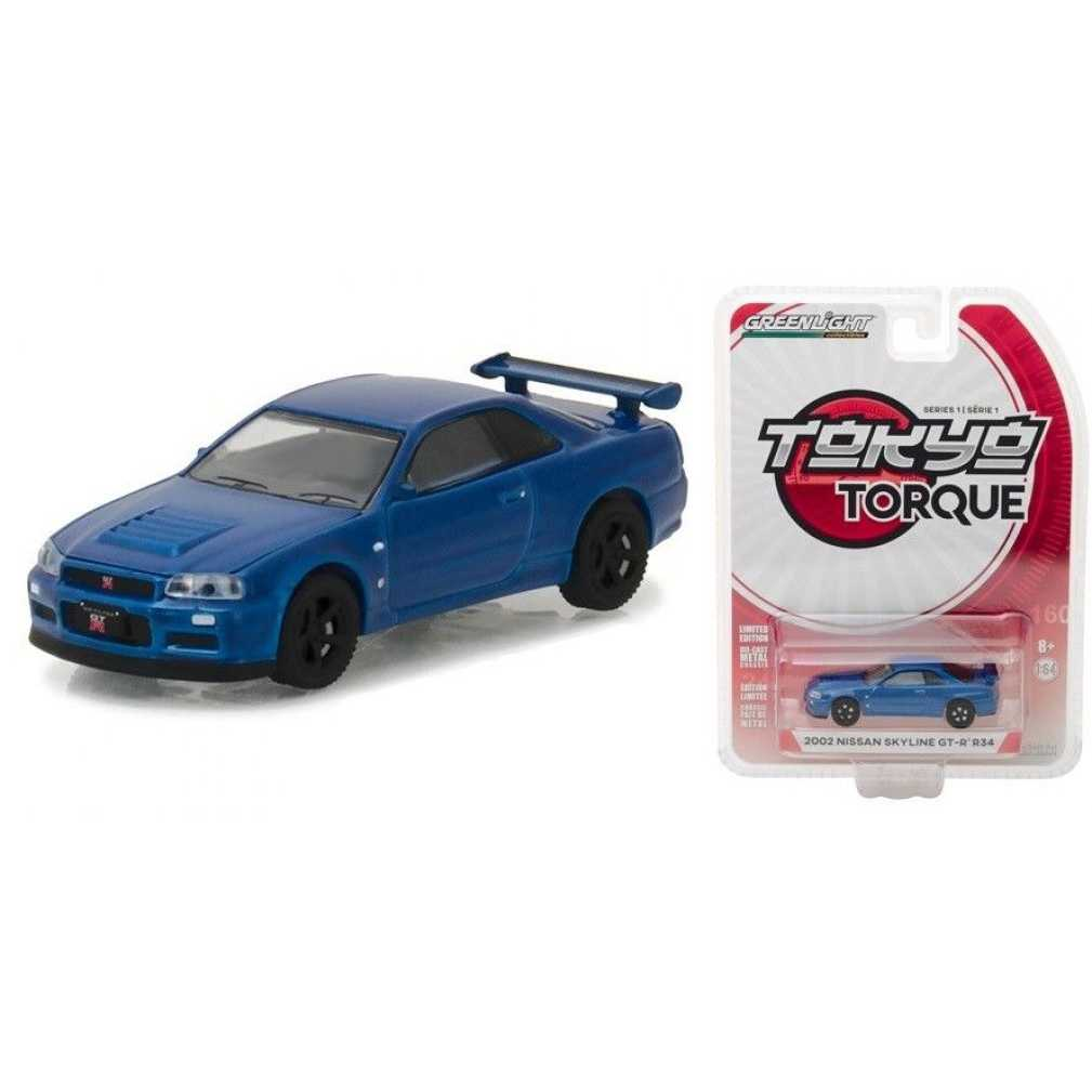 綠光 1:64 模型車- Tokyo Torque S1 2002 Nissan Skyline GT-R R34 藍色