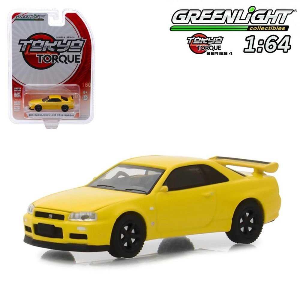 綠光 1:64 模型車Tokyo Torque S4 2001 Nissan Skyline GT-R BNR34 黃色