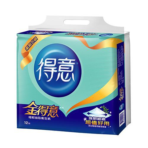 金得意極韌抽取式衛生紙100抽*12包