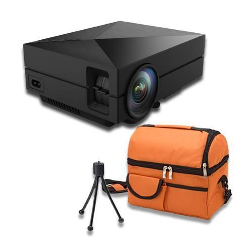 shop4fun 黑色奢華款迷你可攜投影機GM60↖獨家贈送收納包/三腳架↖ /常規
