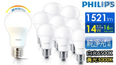【PHILIPS飛利浦】LED球型14W 廣角LED燈泡E27 白光6
