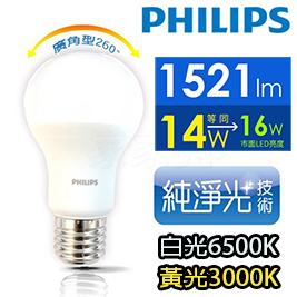【PHILIPS飛利浦】LED球型14W 廣角LED燈泡E27