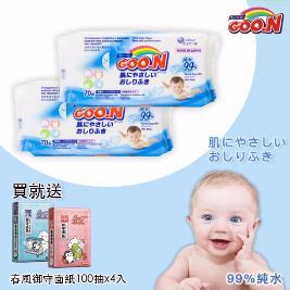 【日本大王GOO.N】嬰兒護膚柔濕巾 (70抽x12包/箱) 加贈春風