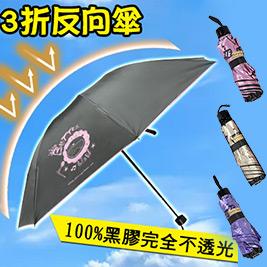 新黑膠100%抗UV好收納3折奶油獅反向傘