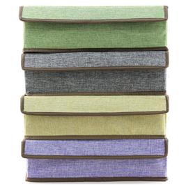 棉麻感18分隔內衣收納盒 (33.5X24X10.5CM) 四色可選