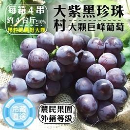 外銷等級!【游家果園】彰化大村特大顆巨峰葡萄(紫黑珍珠)(4台斤/盒