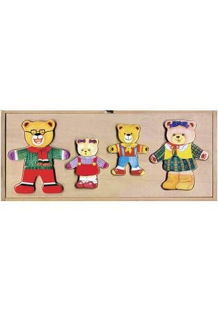 木製啟蒙教具:小熊家族換裝盒