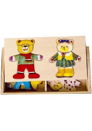木製啟蒙教具:熊爸熊媽換裝盒