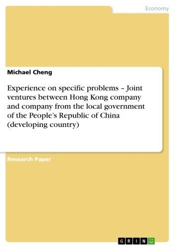 Experience on specific problems - Joint ventures between Hong Kong company and company from the local government of the People\