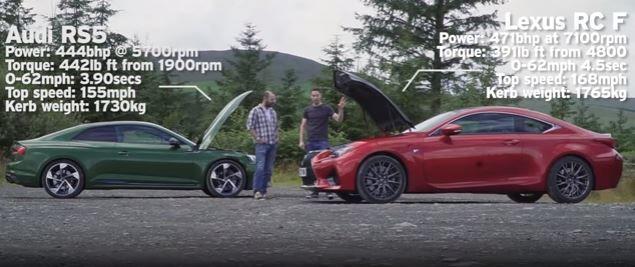 Audi RS5 Vs Lexus RC-F,雙門跑車對決