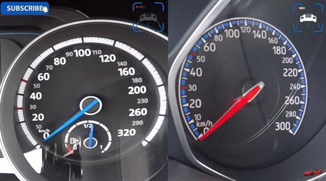 MK7 VW Golf R vs. MK3 Ford Focus RS 230km/h加速對戰