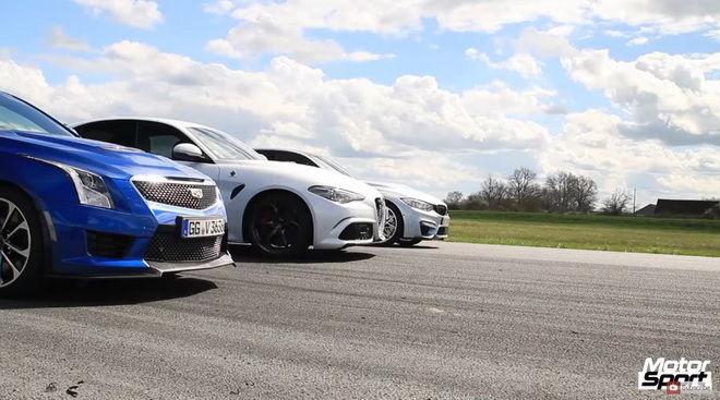 一公里加速誰快? Alfa Romeo Giulia QV, BMW M3和Cadillac ATS-V賽場見高下
