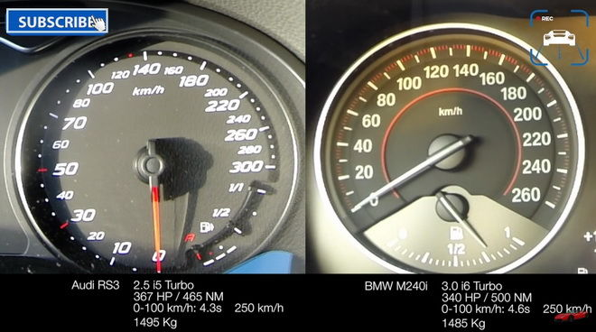 BMW M240i vs Audi RS3 0-240km/h對決
