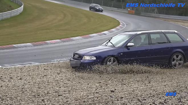 [影片]濕地別逞英雄 Audi S4 Avant在Nurburgring賽道上失控撞上防護欄