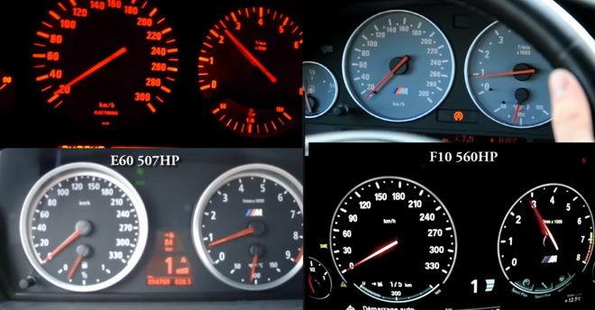 BMW M5 E34、E39、E60、F10之0-200km/h加速比對