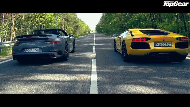 [影片]硬頂與敞篷的對決 Porsche 911 Turbo S Cabrio vs Lamborghini Aventador