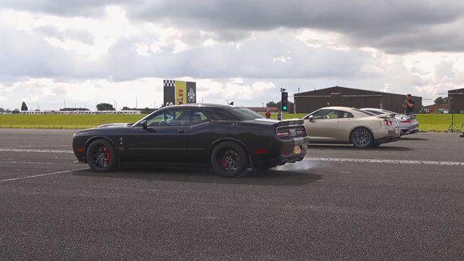 [影片]美、德、日大戰 Dodge Challenger Hellcat vs Porsche 911 Turbo S vs Nissan GT-R