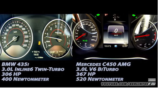 BMW 435i vs Mercedes C450 0-250km/h加速誰快???