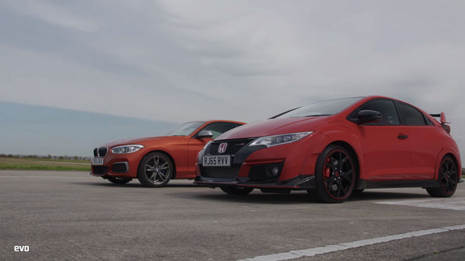 [影片] 前、後驅直線對尬 Honda Civic Type R vs BMW M135i