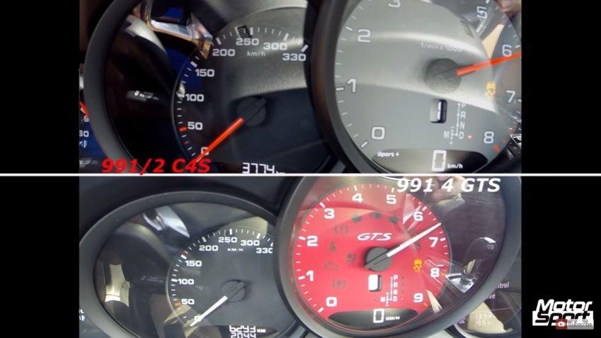 新Porsche 911 Carrera 4S (turbo) vs. 老Carrera 4 GTS 0-250km/h加速比拼