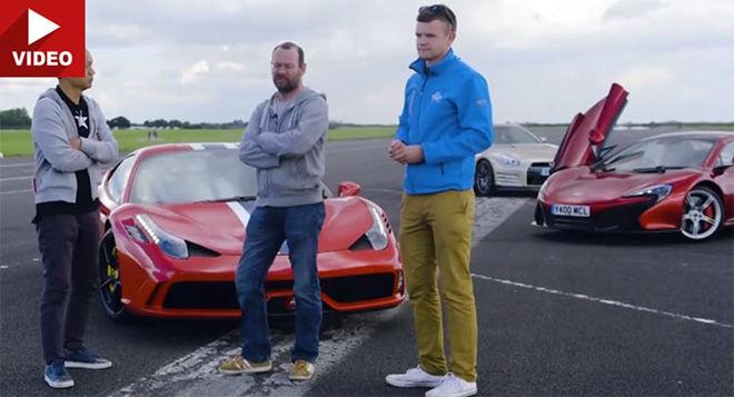 [影片]「英、日、義」直線對決  Ferrari 458 Speciale Vs McLaren 650S Vs Nissan GT-R