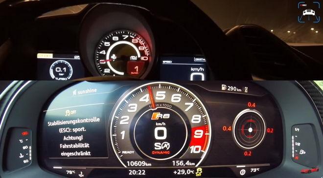 0-300km/h釘孤枝 802hp Audi R8 V10對上780hp Ferrari 488 GTB 你睹誰贏???
