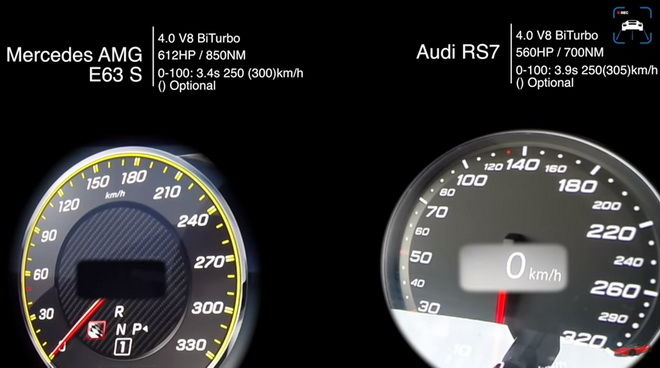 世界頂級性能轎車 Mercedes-AMG E63 S與Audi RS7比0-250km/h誰快???