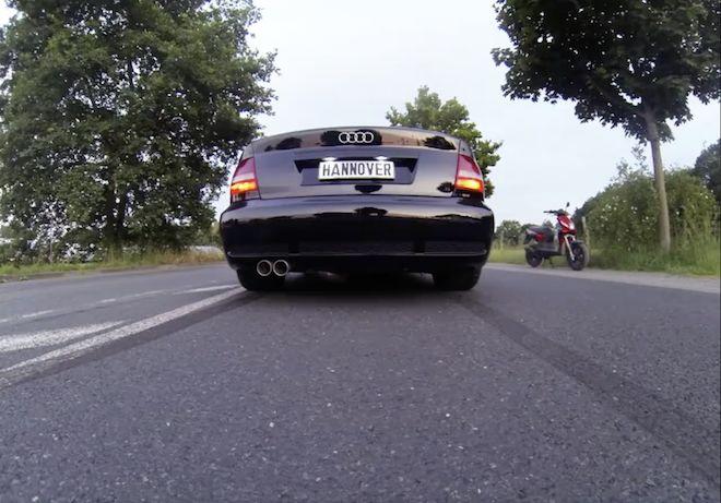 這輛Audi RS4 Sedan應該具備人擋殺人、佛擋殺佛的本事!所以那剎那發生什麼事?(內有終極加速影片)