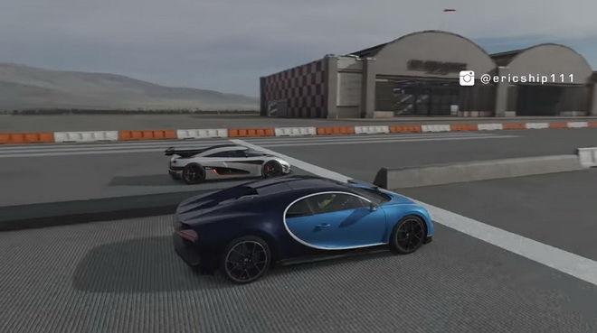 法國龍王Bugatti Chiron與瑞典跑車一哥Koenigsegg One:1單挑一英里加速誰快??? Forza 7有答案!!!
