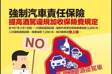 「強制汽車責任保險」提高酒駕違規加收保險費規定