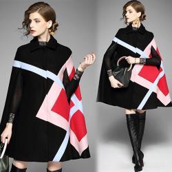 歐風KEITH-Will M~XL歐美時尚幾何圖案斗篷式毛呢外套